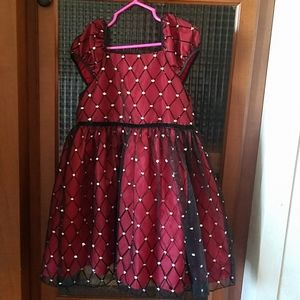 Red and black dress with glitter embellishments